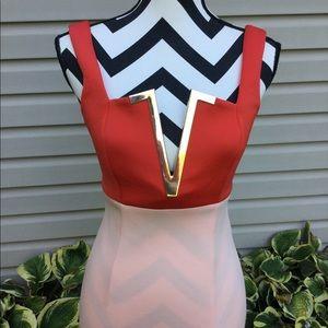 NWT ASOS DESIGN Color Block Gold V Midi Dress